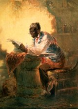 Untitled watercolor of a man reading a newspaper, about 1863, by Henry Louis Stephens.